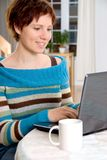 Girl at laptop stock images