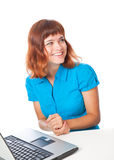 A girl with a laptop Stock Photography
