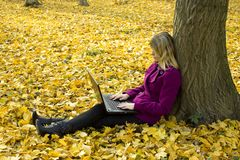 Girl with a laptop Royalty Free Stock Photos