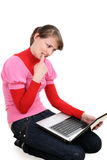 The girl with the laptop Stock Image