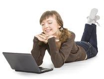 Girl with a laptop Stock Photos