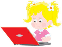 Girl with a laptop. Vector illustration of a little girl typing on her laptop computer Stock Images