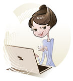 Girl and laptop Stock Photos