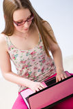 Girl and laptop Stock Photo