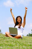 Girl on Laptop Stock Image