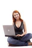 Girl and laptop Stock Photos
