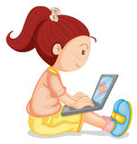 A girl with laptop Stock Images
