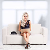 Girl with laptop Royalty Free Stock Image
