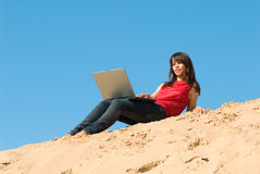 The girl and a laptop Royalty Free Stock Image
