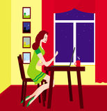 Girl with the laptop. The girl with the laptop, sitting at a window in the room Royalty Free Stock Photo