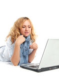 Girl and laptop Royalty Free Stock Photos