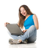 Girl with laptop Stock Photography