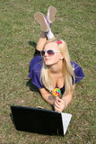 Girl with a laptop Stock Photo