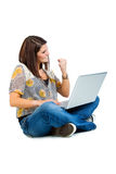 Girl on laptop Royalty Free Stock Photography