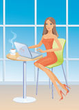 Girl with laptop. And coffee cup sits at a window Royalty Free Stock Images