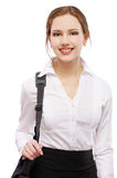 Girl with laptop bag Royalty Free Stock Photography