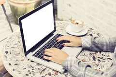 Girl, laptop with blank screen and coffee Stock Photo