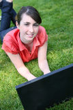 Girl on Laptop Computer Royalty Free Stock Photography
