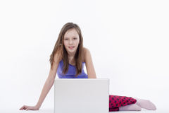 Girl with laptop computer Royalty Free Stock Image