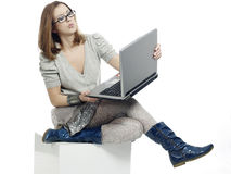Girl with laptop computer Royalty Free Stock Images