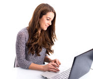 Girl with laptop computer Stock Photos