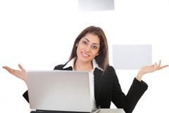 Girl on laptop gesturing Royalty Free Stock Images