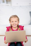 Girl With Laptop At Home Stock Photos