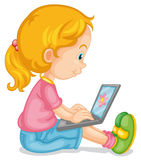 A girl and laptop Royalty Free Stock Photography