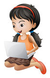 A girl with a laptop Royalty Free Stock Images