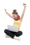 Girl with laptop - isolated Stock Photo