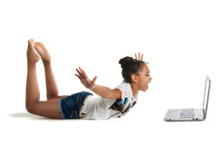 Girl with laptop royalty free stock photos