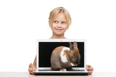 Girl with laptop and little bunny on it Stock Photo