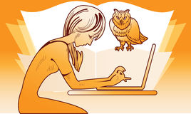 Girl with a laptop and an owl Royalty Free Stock Photography