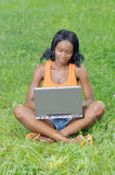 Girl with laptop in park Royalty Free Stock Photo