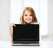 Girl with laptop pc at school Royalty Free Stock Image