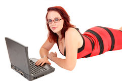 Girl with laptop. Royalty Free Stock Images