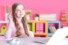 Girl with the laptop Royalty Free Stock Photo