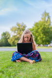 Girl with laptop. Girl is sitting with a lapton on her legs Royalty Free Stock Image