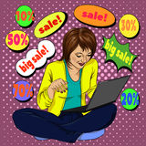Girl with a laptop sitting in the style of pop art comics, online shopping Royalty Free Stock Photo