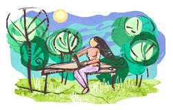 Girl with laptop sitting on wooden bench in park Royalty Free Stock Photo