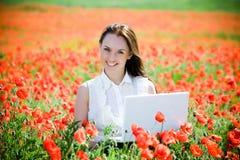girl laptop smiling Στοκ Φωτογραφία