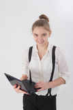 Girl with a laptop Stock Image