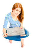 girl with laptop in studio Stock Photography