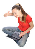 Girl laptop thumb up Royalty Free Stock Photos