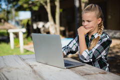 girl laptop using Στοκ Εικόνες