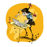 Girl and laptop vector illustration Royalty Free Stock Image