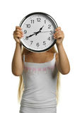 The girl with large clock Stock Photo