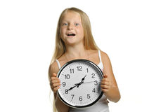 The girl with large clock Royalty Free Stock Photo