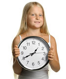 The girl with large clock Royalty Free Stock Photos