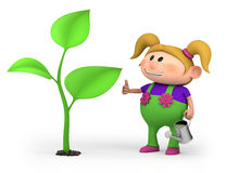 Girl with large sprout. Cute little cartoon girl with a large sprout - high quality 3d illustration Royalty Free Stock Photo